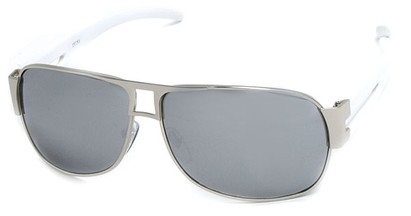Angle of SW Aviator Style #8835 in Silver Frame with Mirrored Lenses, Women's and Men's