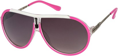 Angle of SW Oversized Aviator Style #6133 in Pink/Silver Frame, Women's and Men's