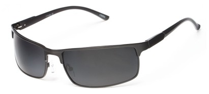 Angle of Dover #2040 in Matte Black Frame with Grey Lenses, Women's and Men's Square Sunglasses
