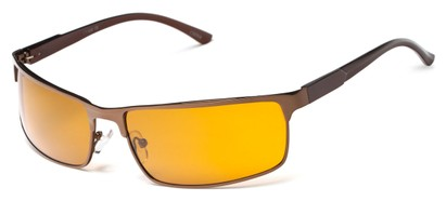 Angle of Dover #2040 in Glossy Bronze Frame with Orange Lenses, Women's and Men's Square Sunglasses