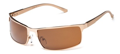 Angle of Dover #2040 in Glossy Gold Frame with Amber Lenses, Women's and Men's Square Sunglasses