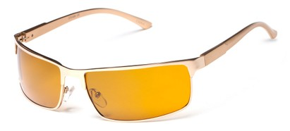 Angle of Dover #2040 in Matte Gold Frame with Orange Lenses, Women's and Men's Square Sunglasses