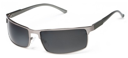 Angle of Dover #2040 in Glossy Silver Frame with Grey Lenses, Women's and Men's Square Sunglasses
