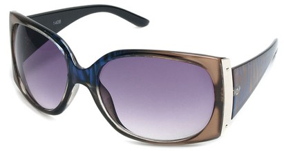 Angle of SW Animal Print Style #29 in Brown and Blue Zebra Two-Tone Frame, Women's and Men's