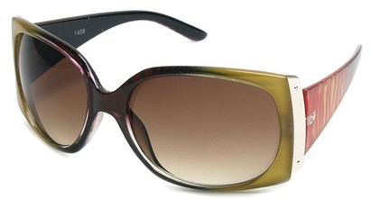 Angle of SW Animal Print Style #29 in Yellow and Red Zebra Two-Tone Frame, Women's and Men's
