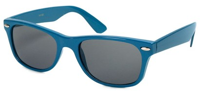 Angle of Trailblazer #1684 in Blue Frame with Smoke Lenses, Women's and Men's Retro Square Sunglasses