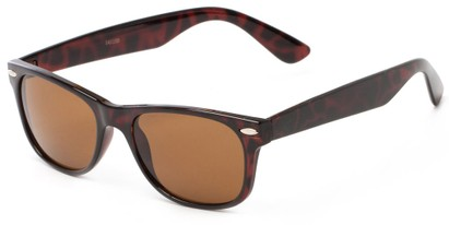 Angle of Trailblazer #1684 in Tortoise Frame with Amber Lenses, Women's and Men's Retro Square Sunglasses