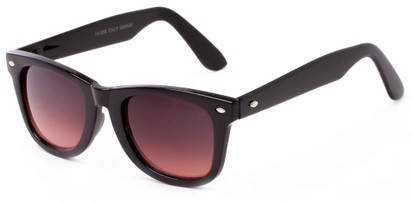 Angle of Turlough #7404 in Black Frame, Women's and Men's Retro Square Sunglasses
