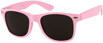 Angle of Michigan #1608 in Light Pink Frame, Women's and Men's Retro Square Sunglasses