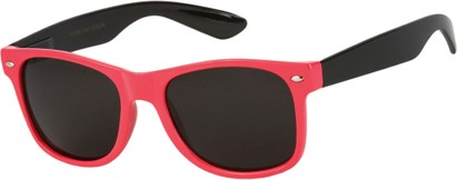 Angle of Michigan #1608 in Neon Pink and Black Frame, Women's and Men's Retro Square Sunglasses
