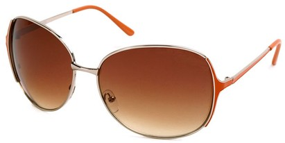 Angle of Yogi #32 in Silver and Orange Frame, Women's Round Sunglasses