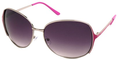 Angle of Yogi #32 in Silver and Pink Frame, Women's Round Sunglasses