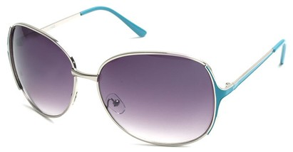 Angle of Yogi #32 in Silver and Blue Frame, Women's Round Sunglasses