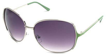 Angle of Yogi #32 in Silver and Green Frame, Women's Round Sunglasses