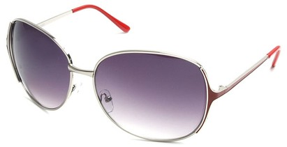 Angle of Yogi #32 in Silver and Red Frame, Women's Round Sunglasses