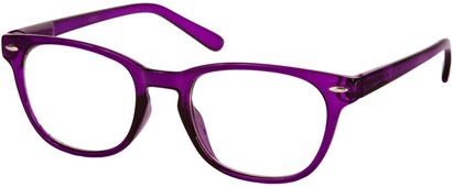 Angle of SW Clear Retro Style #1890 in Purple Frame, Women's and Men's Retro Square Sunglasses