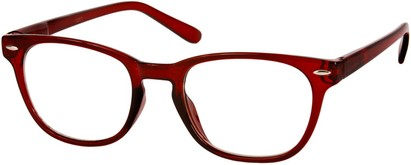 Angle of SW Clear Retro Style #1890 in Red Frame, Women's and Men's Retro Square Sunglasses