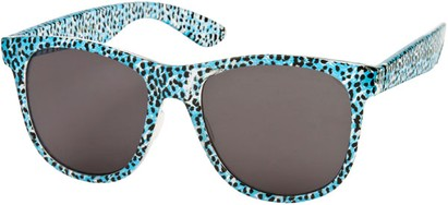 Angle of SW Animal Print Retro Style #1315 in Blue/Clear Leopard Frame, Women's and Men's