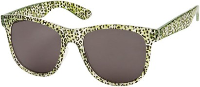 Angle of SW Animal Print Retro Style #1315 in Green/Clear Leopard Frame, Women's and Men's