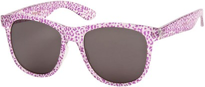 Angle of SW Animal Print Retro Style #1315 in Purple/Clear Leopard Frame, Women's and Men's