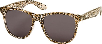 Angle of SW Animal Print Retro Style #1315 in Brown/Clear Leopard Frame, Women's and Men's