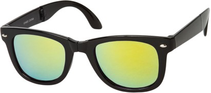 Angle of Spitfire #3805 in Black Frame with Yellow Lenses, Women's and Men's Retro Square Sunglasses
