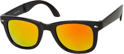 Angle of Spitfire #3805 in Black Frame with Orange Lenses, Women's and Men's Retro Square Sunglasses