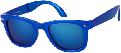 Angle of Spitfire #3805 in Blue Frame with Blue Lenses, Women's and Men's Retro Square Sunglasses