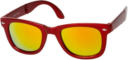 Angle of Spitfire #3805 in Red Frame with Orange Lenses, Women's and Men's Retro Square Sunglasses