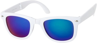 Angle of Spitfire #3805 in White Frame with Purple Lenses, Women's and Men's Retro Square Sunglasses