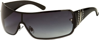 Angle of SW Rhinestone Shield Style #239 in Black Frame with Grey Lenses, Women's and Men's