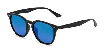 Angle of Solano #1468 in Black Frame with Blue Mirrored Lenses, Women's and Men's Retro Square Sunglasses