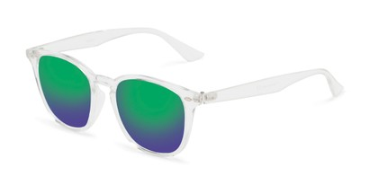 Angle of Solano #1468 in Clear Frame with Green/Purple Mirrored Lenses, Women's and Men's Retro Square Sunglasses