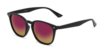 Angle of Solano #1468 in Black Frame with Pink/Yellow Mirrored Lenses, Women's and Men's Retro Square Sunglasses
