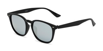 Angle of Solano #1468 in Black Frame with Silver Mirrored Lenses, Women's and Men's Retro Square Sunglasses