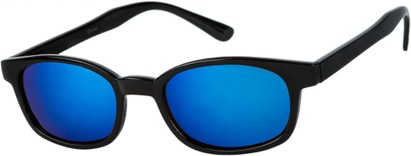 Angle of SW Wide Mirrored Style #1559 in Glossy Black Frame with Blue Mirrored Lenses, Women's and Men's