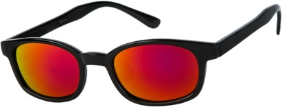 Angle of SW Wide Mirrored Style #1559 in Glossy Black Frame with Red Mirrored Lenses, Women's and Men's