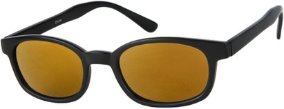 Angle of SW Wide Mirrored Style #1559 in Matte Black Frame with Gold Mirrored Lenses, Women's and Men's