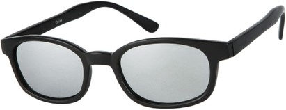 Angle of SW Wide Mirrored Style #1559 in Matte Black Frame with Silver Mirrored Lenses, Women's and Men's