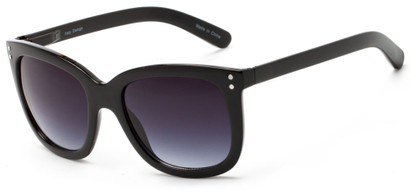 Angle of Gibbons #1431 in Black Frame with Smoke Lenses, Women's Retro Square Sunglasses