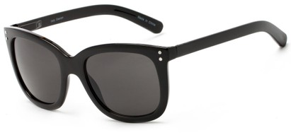 Angle of Gibbons #1431 in Black Frame with Grey Lenses, Women's Retro Square Sunglasses