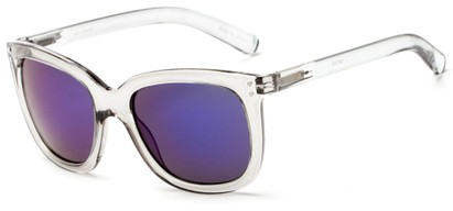 Angle of Gibbons #1431 in Clear/Grey Frame with Blue Mirrored Lenses, Women's Retro Square Sunglasses