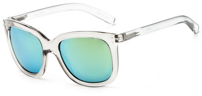 Angle of Gibbons #1431 in Clear/Grey Frame with Yellow Mirrored Lenses, Women's Retro Square Sunglasses