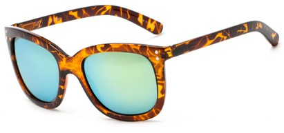 Angle of Gibbons #1431 in Tortoise Frame with Yellow Mirrored Lenses, Women's Retro Square Sunglasses