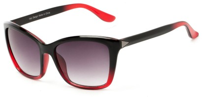 Angle of Livingston #4343 in Black/Red Frame with Smoke Lenses, Women's Square Sunglasses