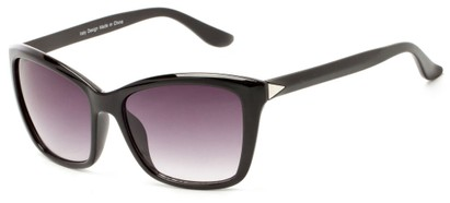 Angle of Livingston #4343 in Black Frame with Smoke Lenses, Women's Square Sunglasses