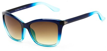 Angle of Livingston #4343 in Blue Frame with Amber Lenses, Women's Square Sunglasses