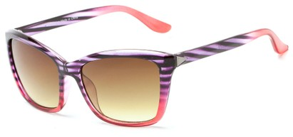 Angle of Livingston #4343 in Purple/Pink Frame with Amber Lenses, Women's Square Sunglasses