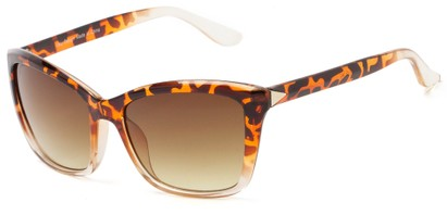 Angle of Livingston #4343 in Tortoise/Clear Frame with Amber Lenses, Women's Square Sunglasses