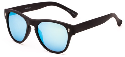 Angle of Mars #3114 in Matte Black Frame with Yellow/Blue Mirrored Lenses, Women's and Men's Retro Square Sunglasses